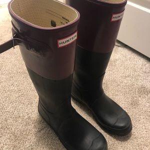 Hunter boots - matte black and purple